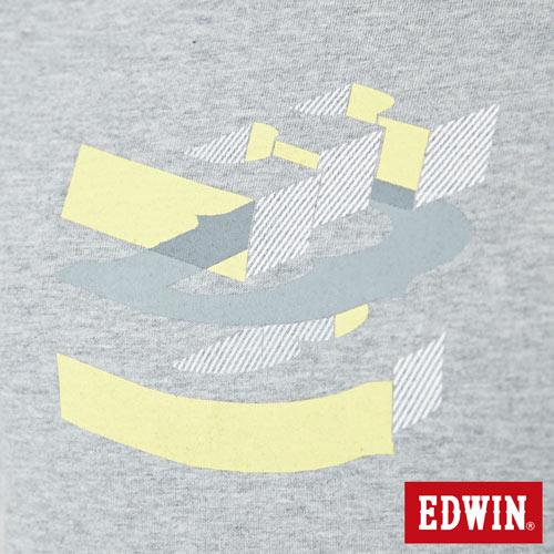 【網路限定款。8折優惠↘】EDWIN 立體夾心ED 短袖T恤-女款 麻灰色 4