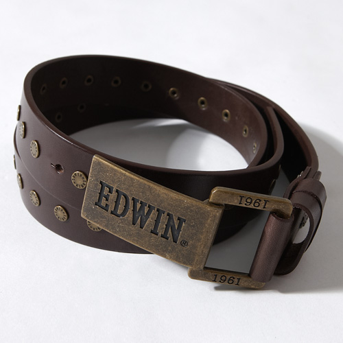 【9折優惠↘】EDWIN 撞釘刻字皮帶-男款 咖啡色