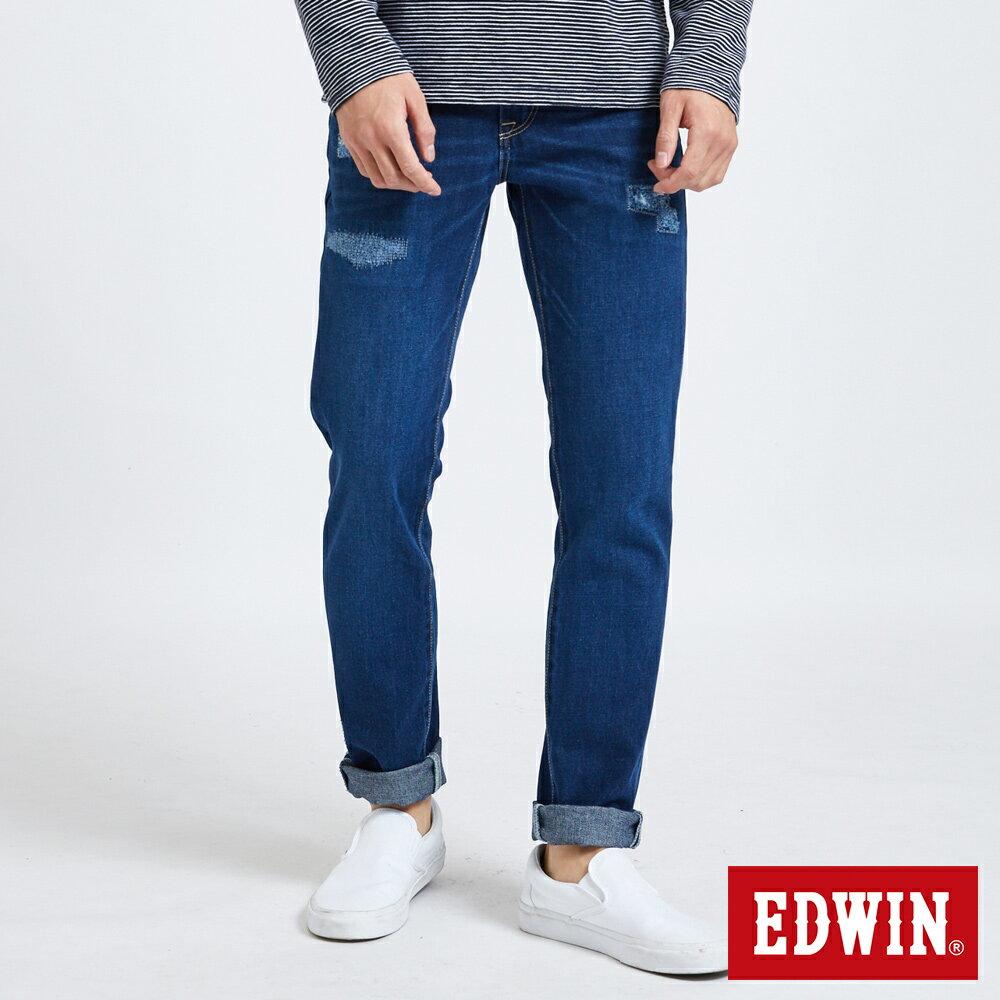 新品↘EDWIN 503 BASIC 大尺碼 補釘加工 純棉AB牛仔褲-男款 中古藍 TAPERED 0