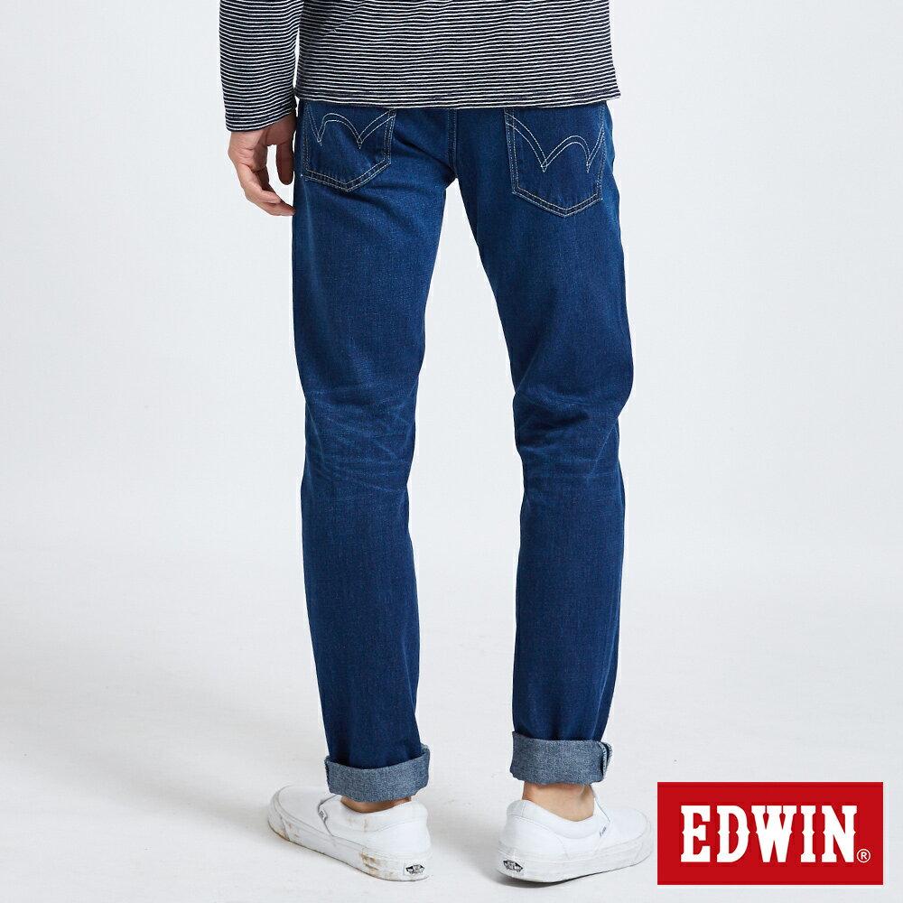 新品↘EDWIN 503 BASIC 大尺碼 補釘加工 純棉AB牛仔褲-男款 中古藍 TAPERED 1