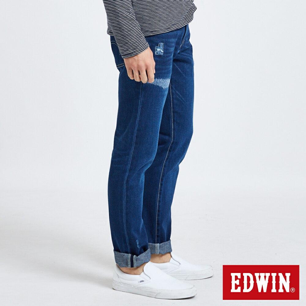 新品↘EDWIN 503 BASIC 大尺碼 補釘加工 純棉AB牛仔褲-男款 中古藍 TAPERED 2