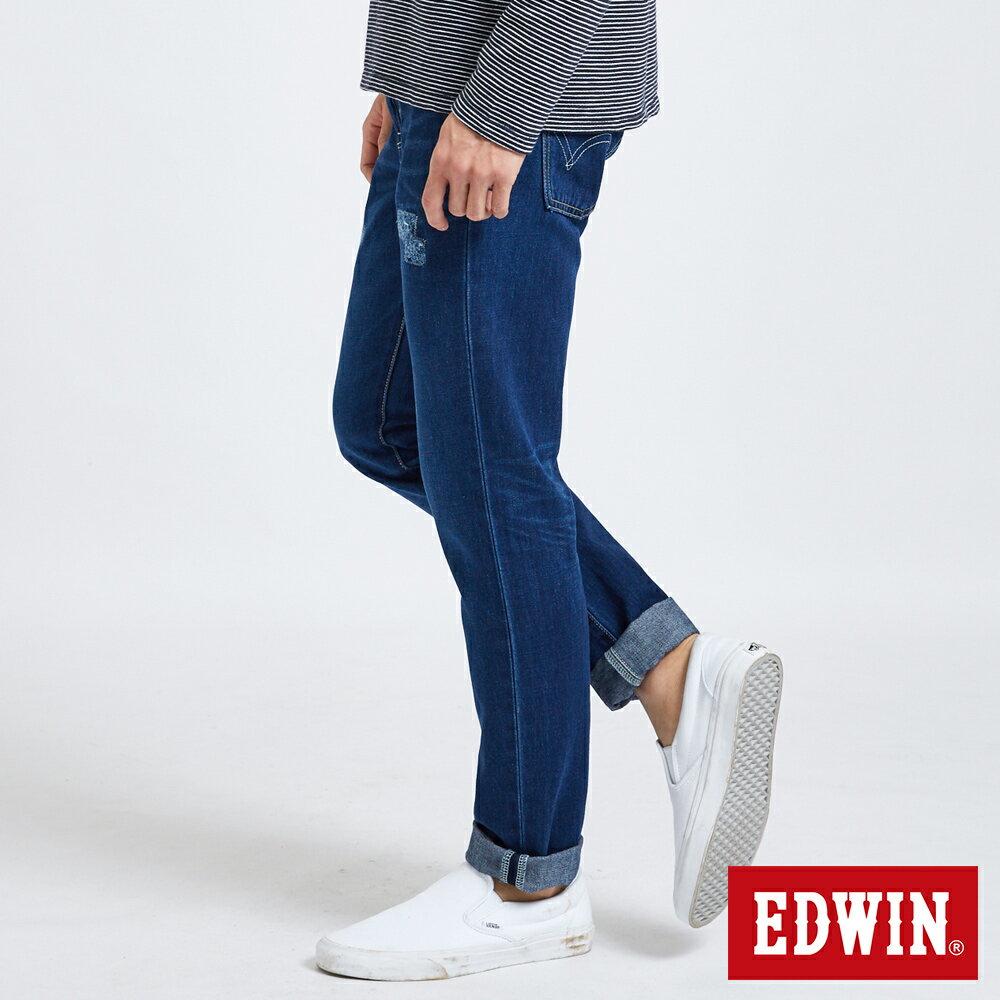 新品↘EDWIN 503 BASIC 大尺碼 補釘加工 純棉AB牛仔褲-男款 中古藍 TAPERED 3