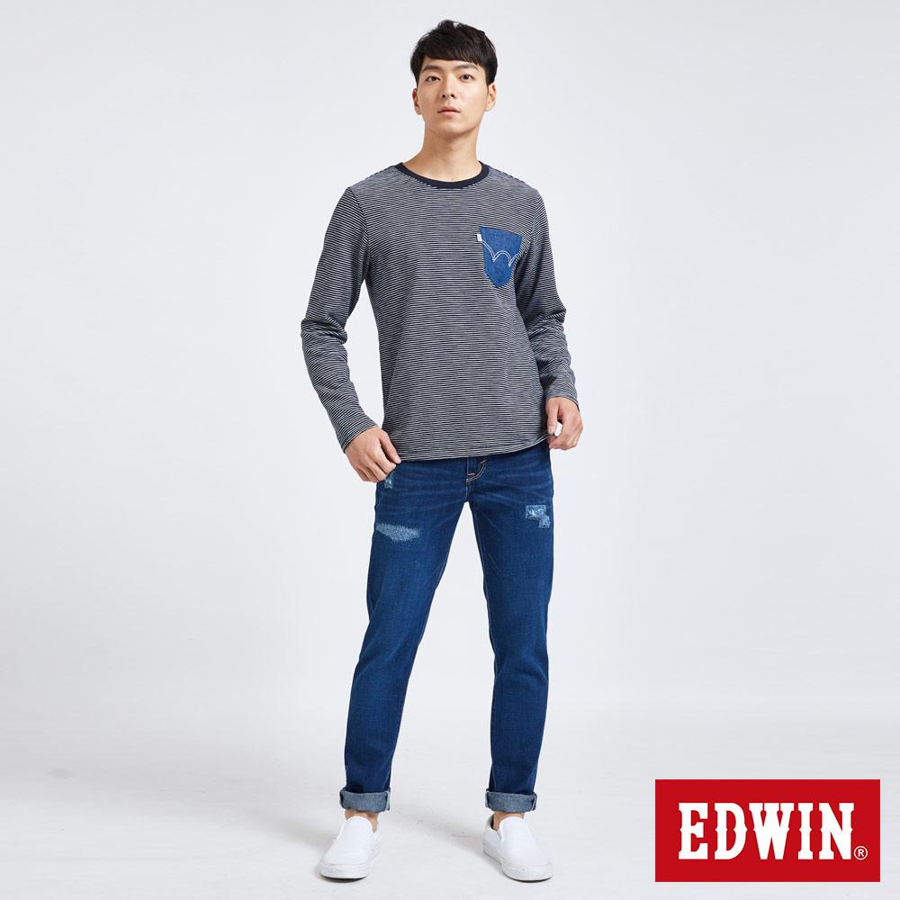 新品↘EDWIN 503 BASIC 大尺碼 補釘加工 純棉AB牛仔褲-男款 中古藍 TAPERED 4