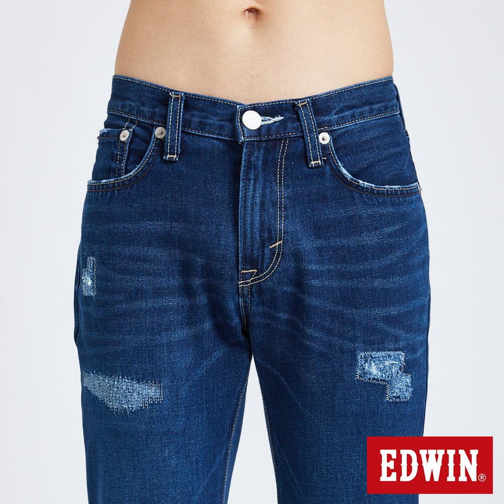 新品↘EDWIN 503 BASIC 大尺碼 補釘加工 純棉AB牛仔褲-男款 中古藍 TAPERED 5