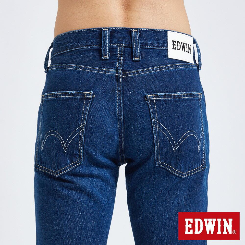 新品↘EDWIN 503 BASIC 大尺碼 補釘加工 純棉AB牛仔褲-男款 中古藍 TAPERED 6