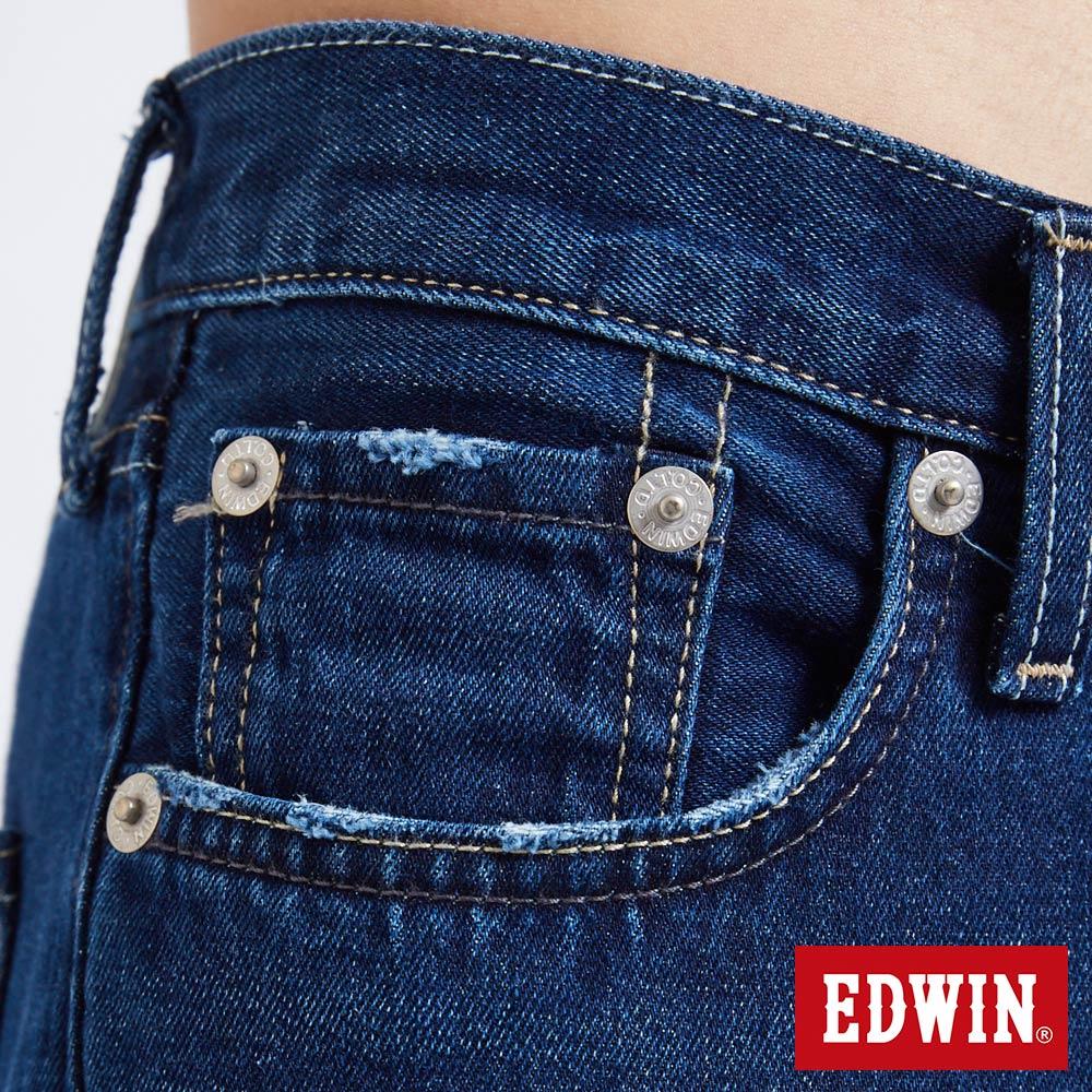 新品↘EDWIN 503 BASIC 大尺碼 補釘加工 純棉AB牛仔褲-男款 中古藍 TAPERED 7