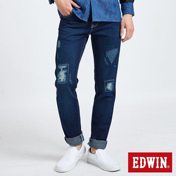 【生日慶加碼|正品夏褲9折↘】【大尺碼】EDWIN503BASIC多重加工窄管牛仔褲-男款中古藍【5月會員消費滿3000元再賺15%點數】