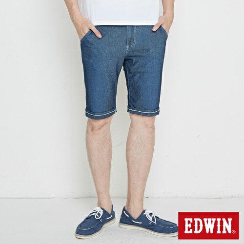 EDWIN JERSEYS 迦績 大尺碼 PK網眼 牛仔短褲-男款 石洗綠 SHORTS