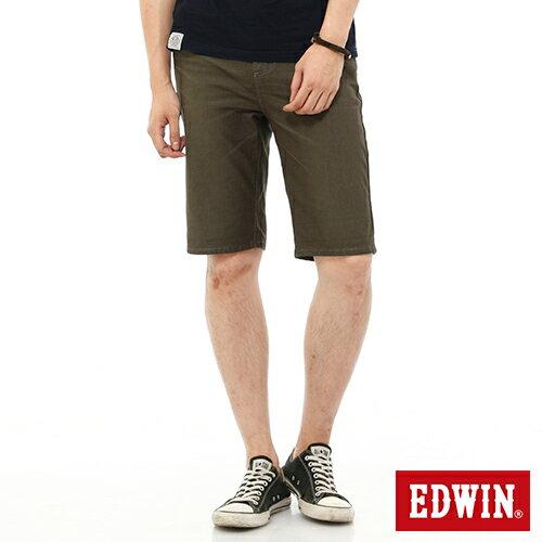 【過年加碼。2件再9折優惠↘】EDWIN JERSEYS迦績內藏腰頭彩色短褲-男-橄欖綠 0