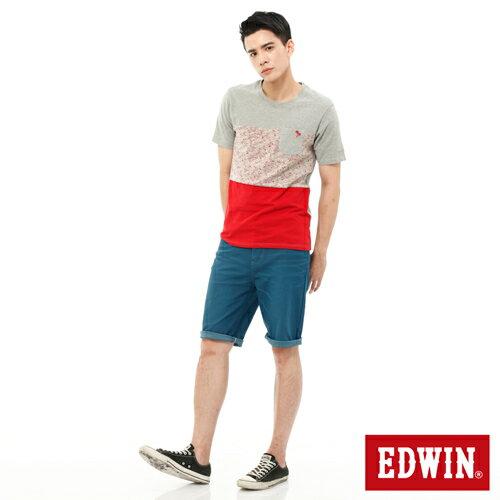 【換季折扣加碼單件8折↘】EDWIN JERSEYS迦績內藏腰頭彩色短褲-男-藍色 2