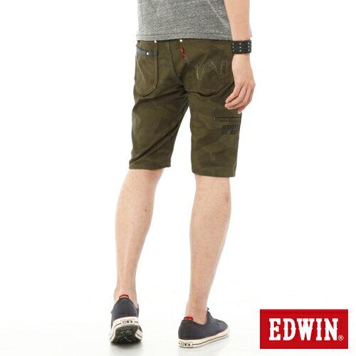 EDWIN JERSEYS 迦績 迷彩CARGO 休閒短褲-男款 橄欖綠 SHORTS 零碼