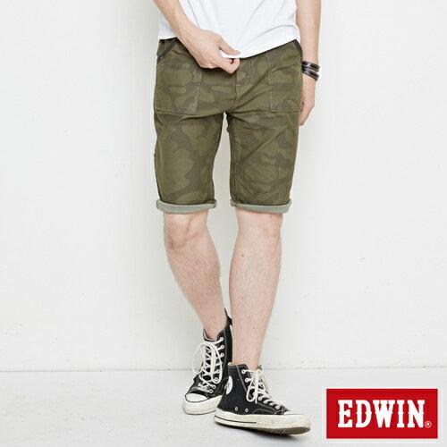 ~5折 ↘~EDWIN JERSEYS迦績迷彩CARGO短褲~男款 苔綠~單筆滿6500結