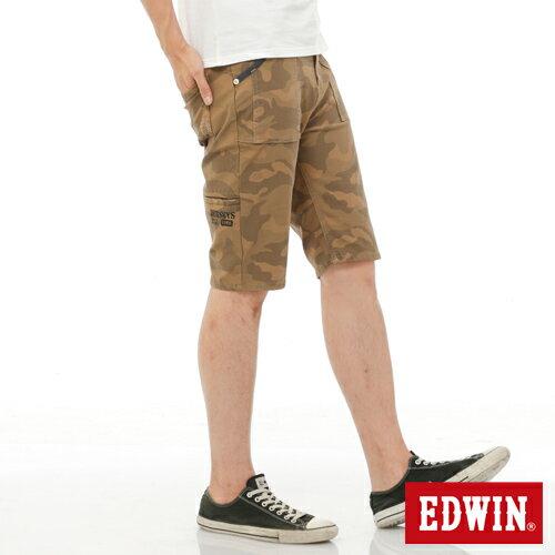 ~5折 ↘~EDWIN JERSEYS迦績迷彩CARGO短褲~男款 淺卡其~單筆滿6500
