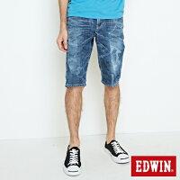 EDWIN 迷彩拔色 牛仔五分短褲 男款