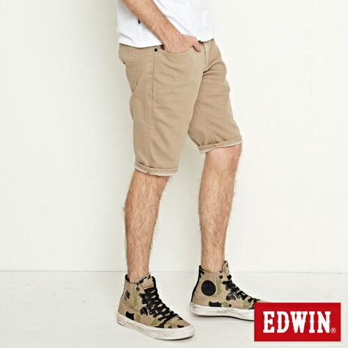 【過年加碼。2件再9折優惠↘】EDWIN 503 COOL快乾五袋式 基本短褲-男款 灰卡其 2