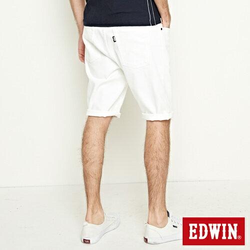 【9折優惠↘】EDWIN 503 COOL快乾五袋式 基本短褲-男款 白色【單筆888輸入代碼fashion2904-1折100元↘單筆999點數13倍↘再抽2萬里程數↘】 1