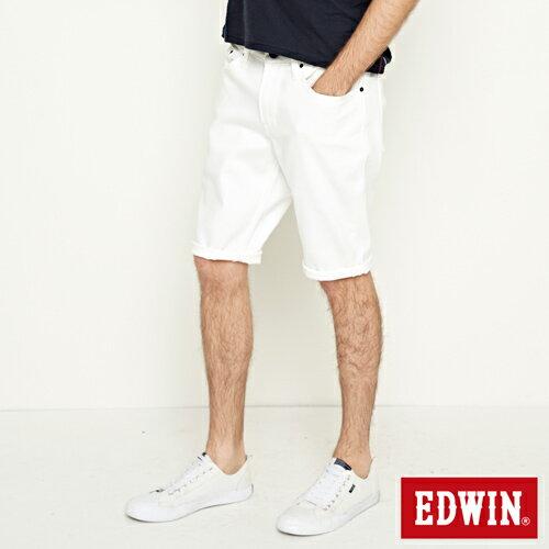 【9折優惠↘】EDWIN 503 COOL快乾五袋式 基本短褲-男款 白色【單筆888輸入代碼fashion2904-1折100元↘單筆999點數13倍↘再抽2萬里程數↘】 2