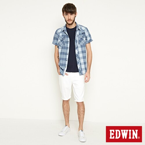 【9折優惠↘】EDWIN 503 COOL快乾五袋式 基本短褲-男款 白色【單筆888輸入代碼fashion2904-1折100元↘單筆999點數13倍↘再抽2萬里程數↘】 3