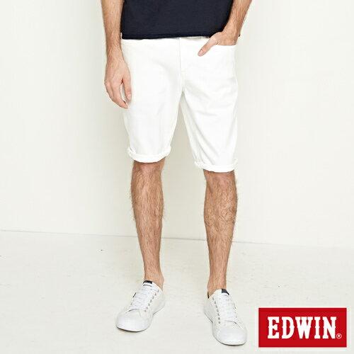 【9折優惠↘】EDWIN 503 COOL快乾五袋式 基本短褲-男款 白色【單筆888輸入代碼fashion2904-1折100元↘單筆999點數13倍↘再抽2萬里程數↘】 0