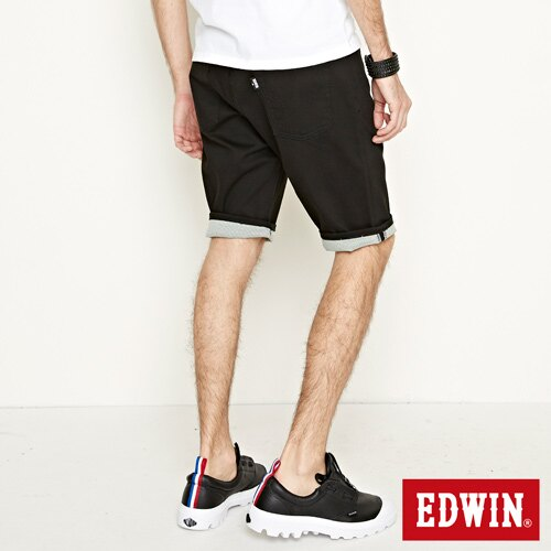 【9折優惠↘】EDWIN 503 COOL快乾五袋式 基本短褲-男款 黑色【單筆888輸入代碼fashion2228-3折100元↘單筆999點數13倍↘再抽2萬里程數↘】 2
