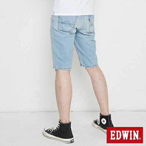 【換季最終波。任2件再9折優惠↘】EDWIN 503 NARROW破壞 牛仔短褲-男款 重漂藍 1