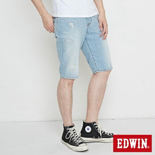 【9折優惠↘】EDWIN 503 NARROW破壞 牛仔短褲-男款 重漂藍 2