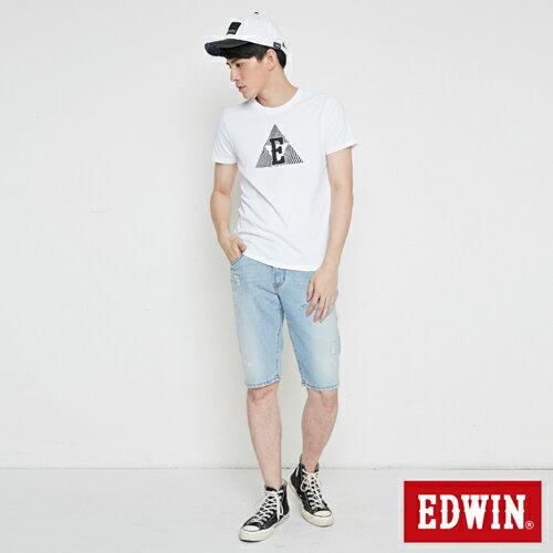 【換季最終波。任2件再9折優惠↘】EDWIN 503 NARROW破壞 牛仔短褲-男款 重漂藍 3