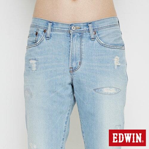 【換季最終波。任2件再9折優惠↘】EDWIN 503 NARROW破壞 牛仔短褲-男款 重漂藍 4