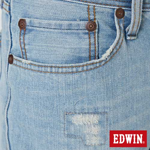 【換季最終波。任2件再9折優惠↘】EDWIN 503 NARROW破壞 牛仔短褲-男款 重漂藍 6