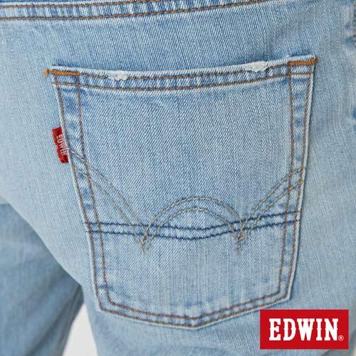 【換季最終波。任2件再9折優惠↘】EDWIN 503 NARROW破壞 牛仔短褲-男款 重漂藍 7
