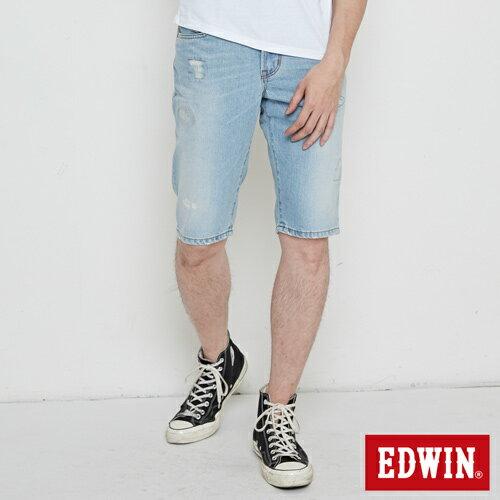 【9折優惠↘】EDWIN 503 NARROW破壞 牛仔短褲-男款 重漂藍 0