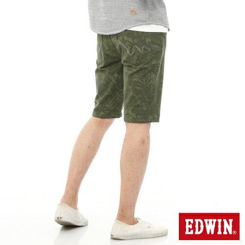 【1290元優惠↘】EDWIN JERSEYS迦績超彈力印花短褲-男-橄欖綠【單筆888輸入代碼fashion2228-2折100元↘單筆999點數13倍↘再抽2萬里程數↘】 1