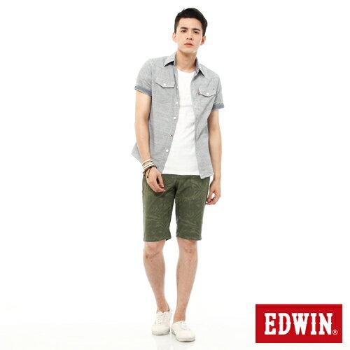 【1290元優惠↘】EDWIN JERSEYS迦績超彈力印花短褲-男-橄欖綠 2