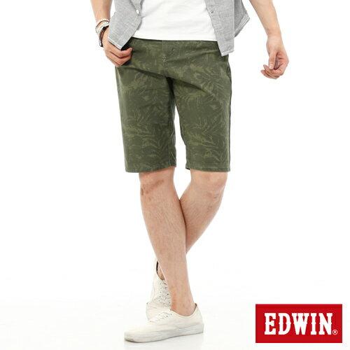 【1290元優惠↘】EDWIN JERSEYS迦績超彈力印花短褲-男-橄欖綠
