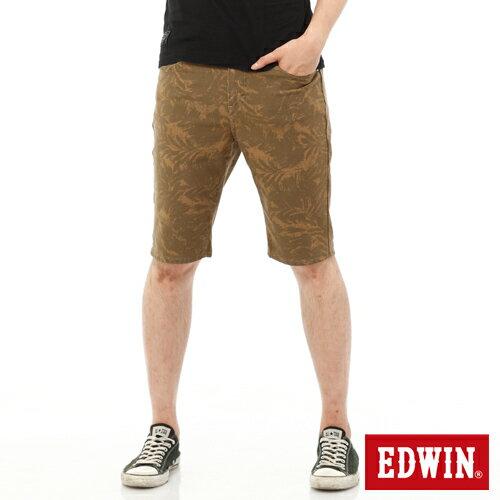 【1290元優惠↘】EDWIN JERSEYS迦績超彈力印花短褲-男-褐色 0