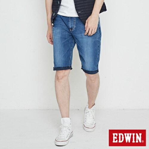 【換季最終波。任2件再9折優惠↘】EDWIN JERSEYS迦績紅腰頭牛仔短褲-男-酵洗藍 0