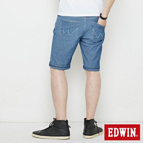 【4月丹寧主打。迦績褲2件以上再9折↘】【大尺碼】EDWIN JERSEYS迦績極涼寬短褲-男款 石洗藍【單件購買可使用優惠券EDWIN200-2。再折200】 1