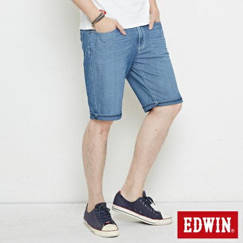 【4月丹寧主打。迦績褲2件以上再9折↘】【大尺碼】EDWIN JERSEYS迦績極涼寬短褲-男款 石洗藍【單件購買可使用優惠券EDWIN200-2。再折200】 2