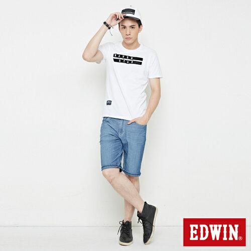【4月丹寧主打。迦績褲2件以上再9折↘】【大尺碼】EDWIN JERSEYS迦績極涼寬短褲-男款 石洗藍【單件購買可使用優惠券EDWIN200-2。再折200】 3