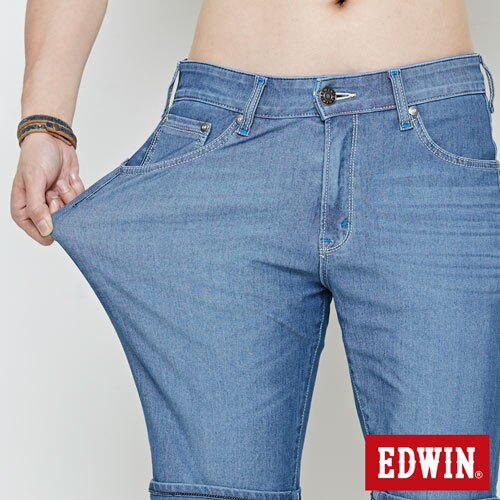 【4月丹寧主打。迦績褲2件以上再9折↘】【大尺碼】EDWIN JERSEYS迦績極涼寬短褲-男款 石洗藍【單件購買可使用優惠券EDWIN200-2。再折200】 4