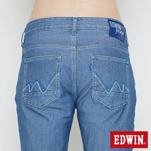 【4月丹寧主打。迦績褲2件以上再9折↘】【大尺碼】EDWIN JERSEYS迦績極涼寬短褲-男款 石洗藍【單件購買可使用優惠券EDWIN200-2。再折200】 5
