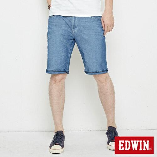 【4月丹寧主打。迦績褲2件以上再9折↘】EDWIN JERSEYS迦績極涼寬短褲-男款 石洗藍【單件購買可使用優惠券EDWIN200-1。再折200】 0