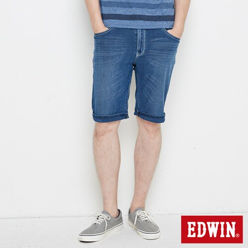 【換季最終波。任2件再9折優惠↘】【大尺碼】EDWIN JERSEYS迦績極涼寬短褲-男款 石洗綠 0