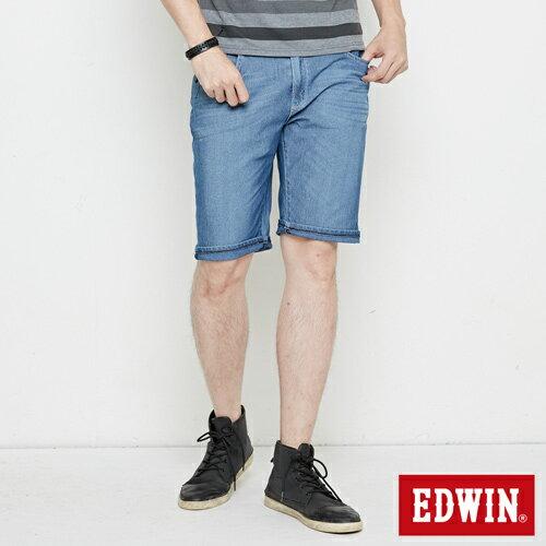 【4月丹寧主打。迦績褲2件以上再9折↘】【大尺碼】EDWIN JERSEYS迦績極涼寬短褲-男款 石洗藍【單件購買可使用優惠券EDWIN200-2。再折200】 0