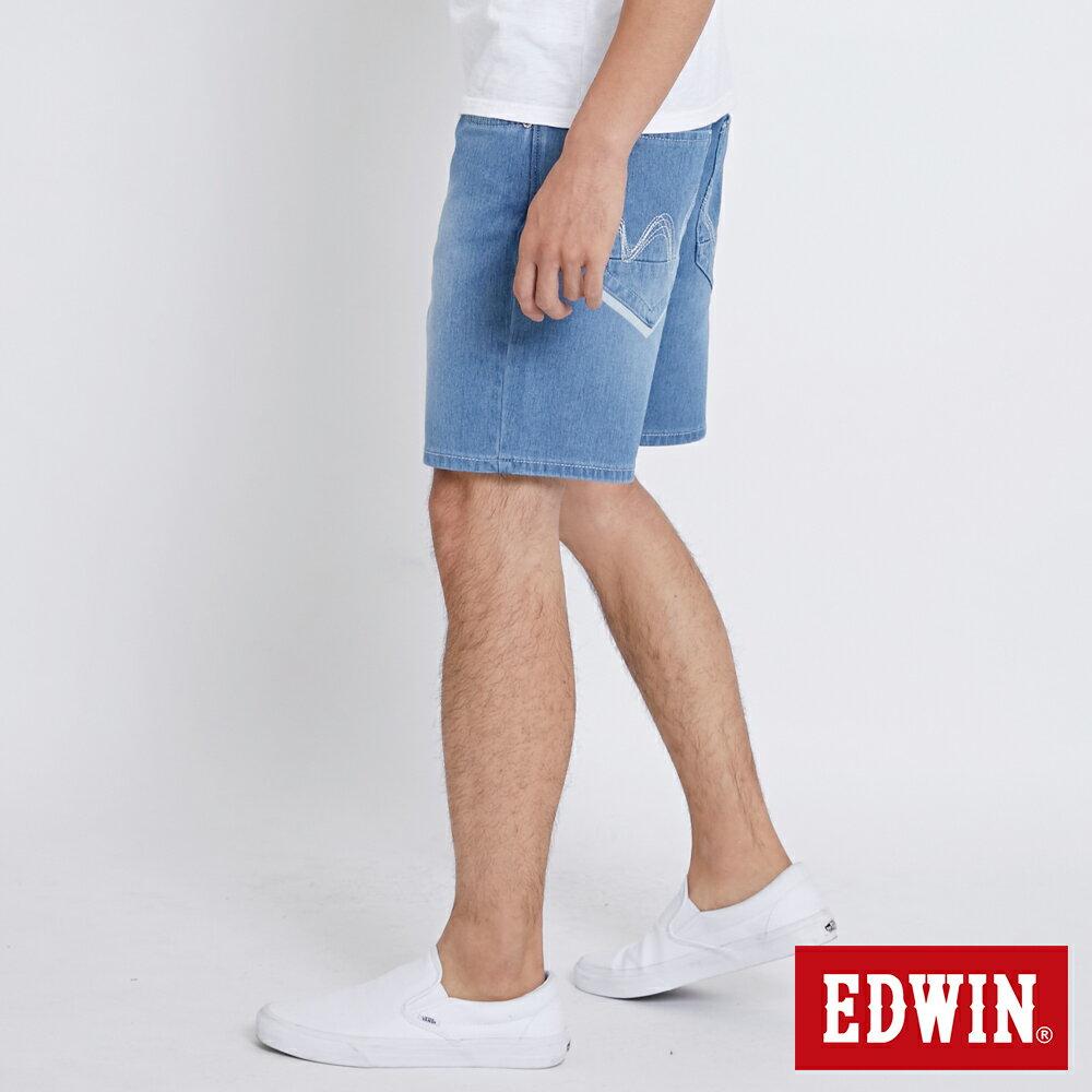 EDWIN JERSEYS迦績棉感 寬版牛仔短褲-男款 石洗藍 SHORTS 3