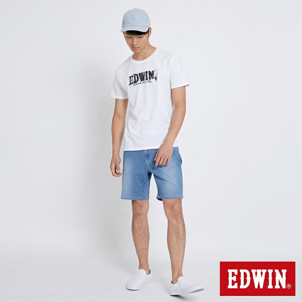 EDWIN JERSEYS迦績棉感 寬版牛仔短褲-男款 石洗藍 SHORTS 4