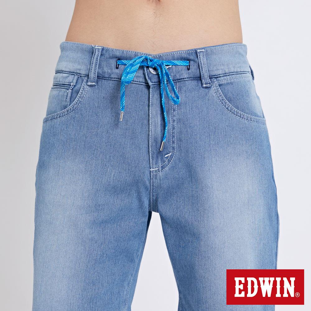 EDWIN JERSEYS迦績棉感 寬版牛仔短褲-男款 石洗藍 SHORTS 5