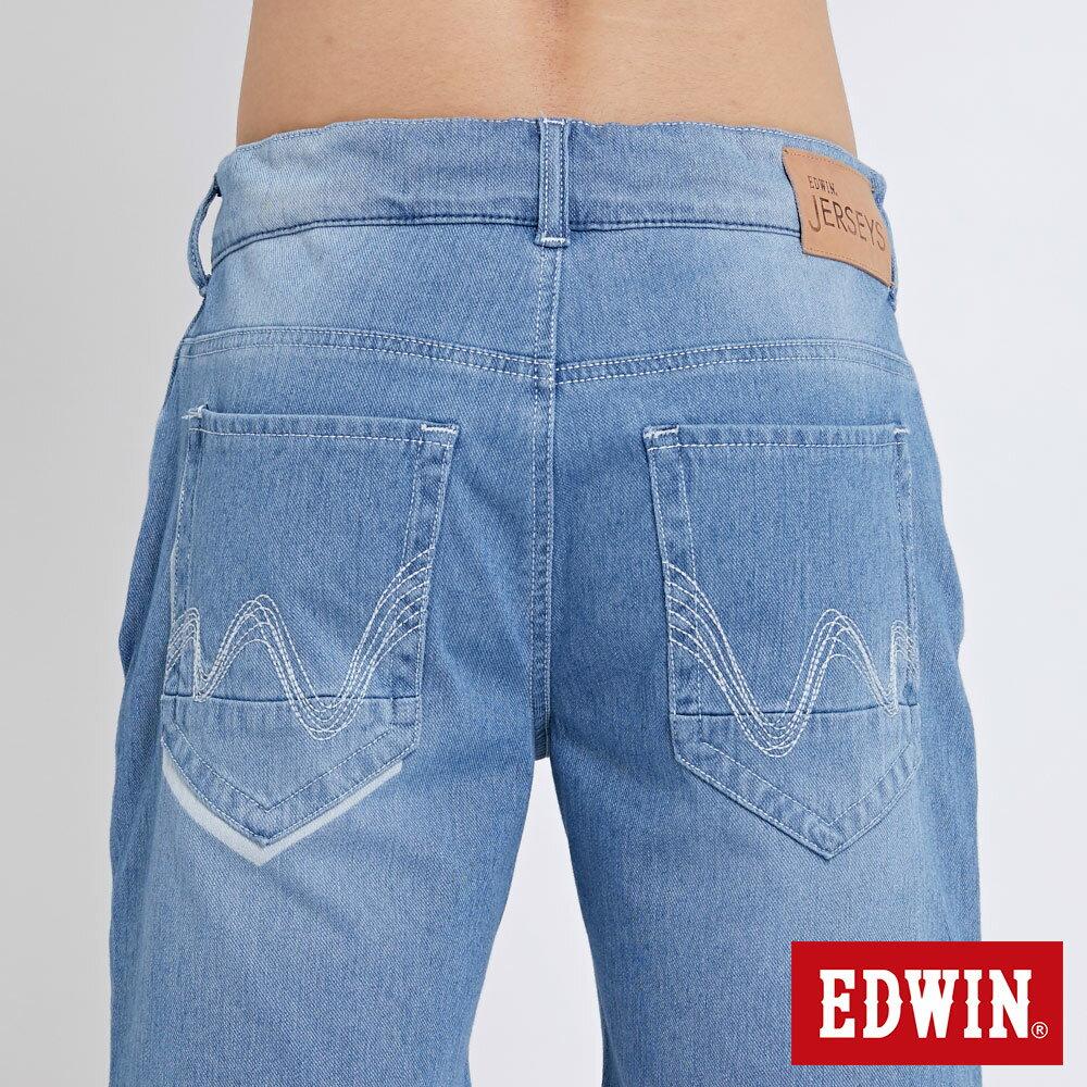 EDWIN JERSEYS迦績棉感 寬版牛仔短褲-男款 石洗藍 SHORTS 6