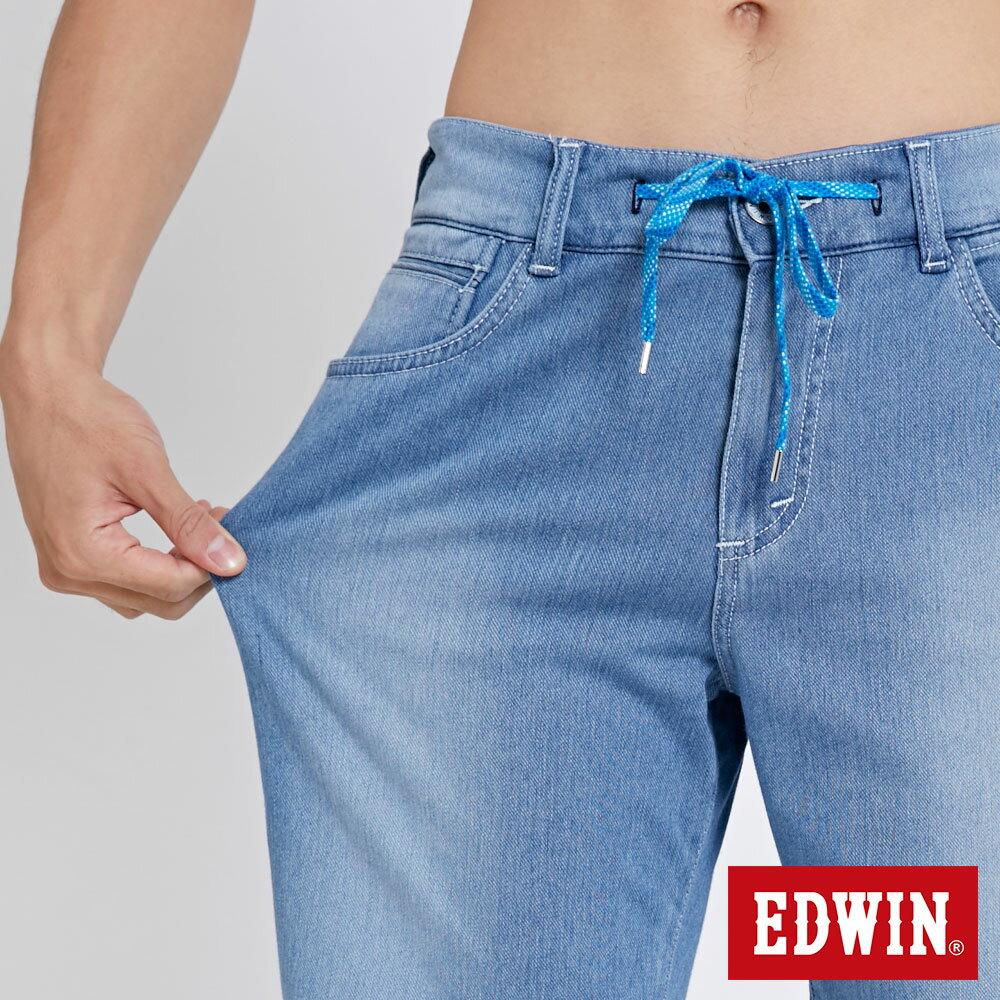 EDWIN JERSEYS迦績棉感 寬版牛仔短褲-男款 石洗藍 SHORTS 7