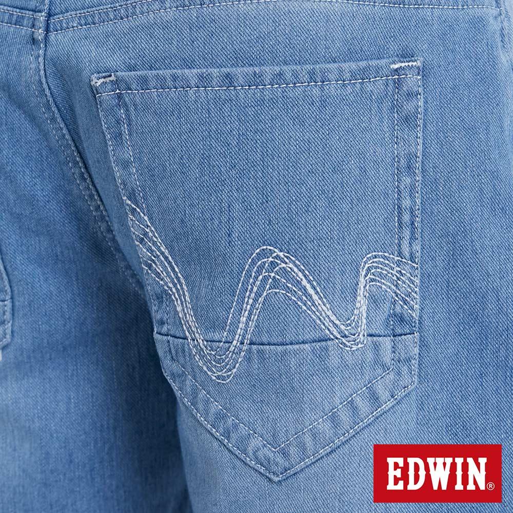 EDWIN JERSEYS迦績棉感 寬版牛仔短褲-男款 石洗藍 SHORTS 9